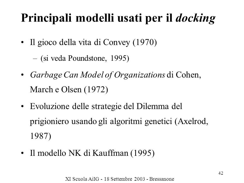 XI Scuola AiIG - 18 Settembre 2003 - Bressanone 42 Principali modelli usati per il docking Il gioco della vita di Convey (1970) –(si veda Poundstone, 1995) Garbage Can Model of Organizations di Cohen, March e Olsen (1972) Evoluzione delle strategie del Dilemma del prigioniero usando gli algoritmi genetici (Axelrod, 1987) Il modello NK di Kauffman (1995)