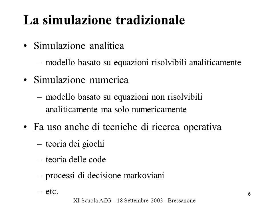 XI Scuola AiIG - 18 Settembre 2003 - Bressanone 7 Modello di simulazione Rappresentazione delle componenti del sistema –entità Descrizione delle caratteristiche del sistema –variabili di stato del sistema –attributi del sistema Descrizione dei comportamenti del sistema –funzioni, equazioni matematiche Evento –cambiamento di stato del sistema –rappresentazione del tempo