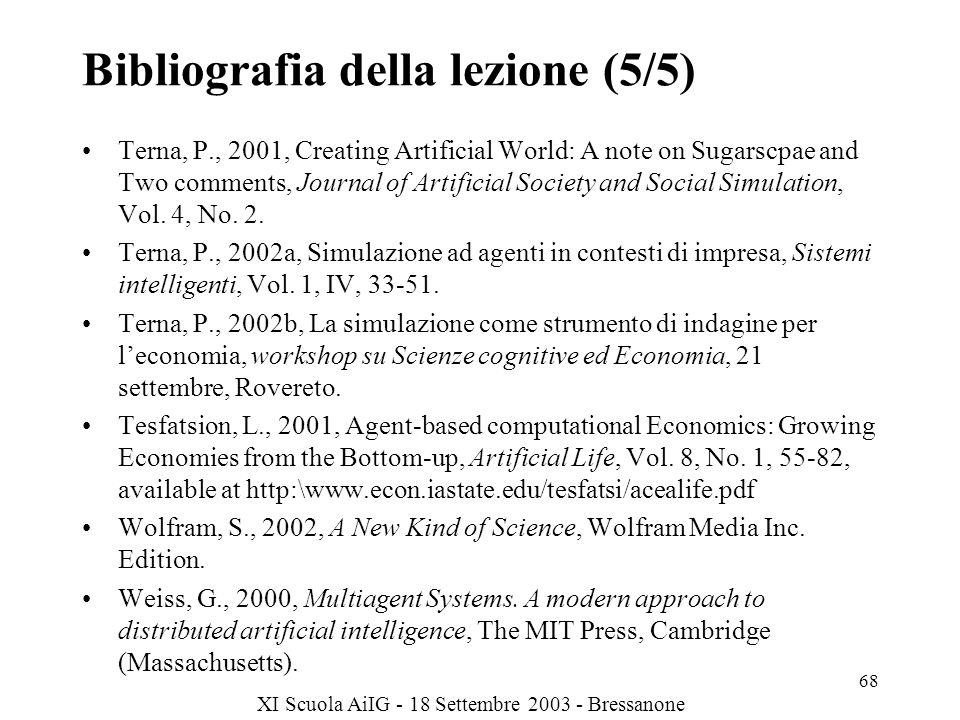 XI Scuola AiIG - 18 Settembre 2003 - Bressanone 68 Bibliografia della lezione (5/5) Terna, P., 2001, Creating Artificial World: A note on Sugarscpae and Two comments, Journal of Artificial Society and Social Simulation, Vol.