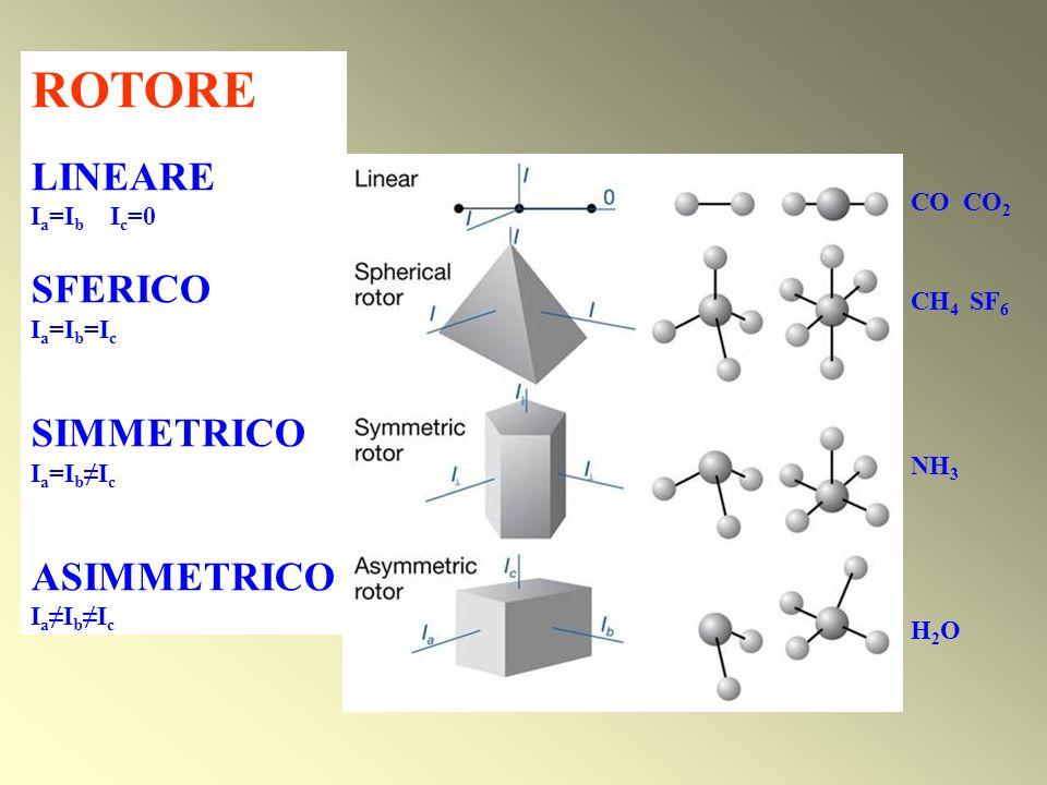 ROTORE LINEARE I a =I b I c =0 SFERICO I a =I b =I c SIMMETRICO I a =I b I c ASIMMETRICO I a I b I c CO CO 2 CH 4 SF 6 NH 3 H 2 O