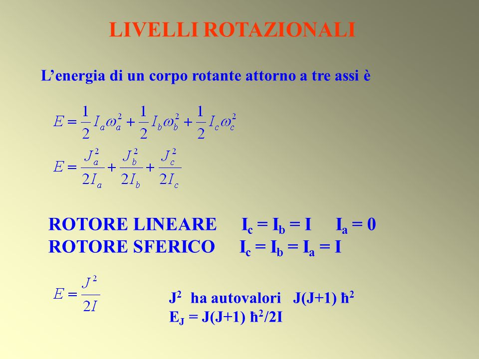 1)Momento di transizione : quasi indipendente da J 2)Popolazione N j /N 0 = (2J+1) exp(-E j /kT) Intensità