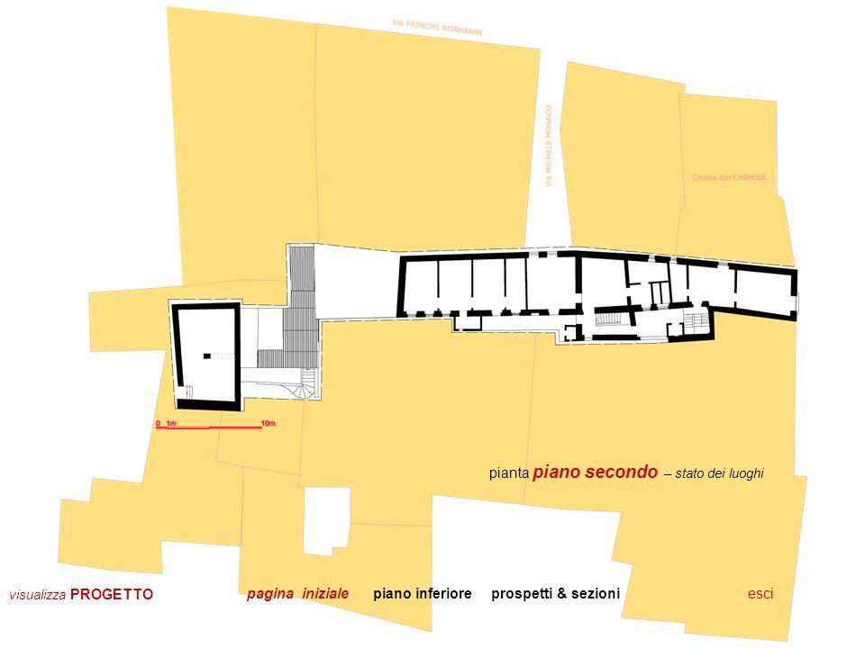 escitorna alle piante sezione longitudinale – stato dei luoghi prospetto su via Michele Monaco pagina iniziale