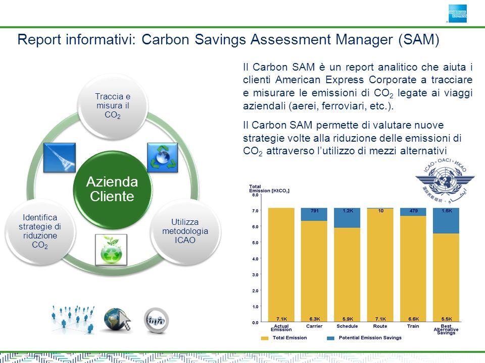 Azienda Cliente Traccia e misura il CO2 Utilizza metodologia ICAO Identifica strategie di riduzione CO2 Il Carbon SAM è un report analitico che aiuta i clienti American Express Corporate a tracciare e misurare le emissioni di CO 2 legate ai viaggi aziendali (aerei, ferroviari, etc.).