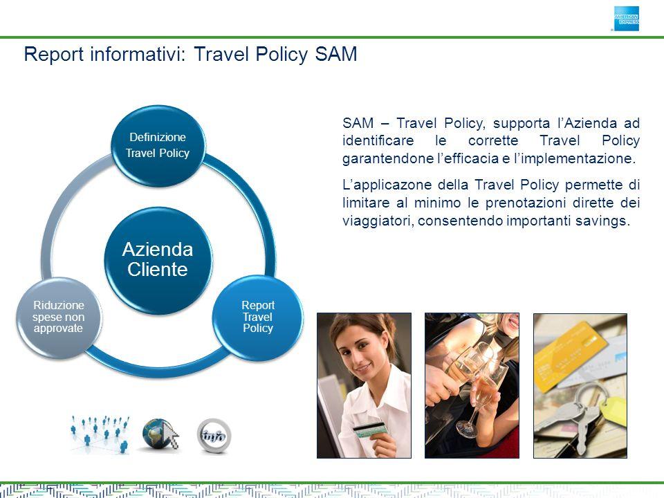 Azienda Cliente Definizione Travel Policy Report Travel Policy Riduzione spese non approvate SAM – Travel Policy, supporta lAzienda ad identificare le corrette Travel Policy garantendone lefficacia e limplementazione.
