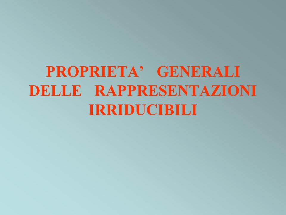 PROPRIETA GENERALI DELLE RAPPRESENTAZIONI IRRIDUCIBILI