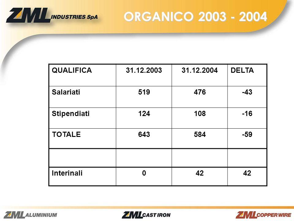 ORGANICO 2003 - 2004 QUALIFICA31.12.200331.12.2004DELTA Salariati519476-43 Stipendiati124108-16 TOTALE643584-59 Interinali042