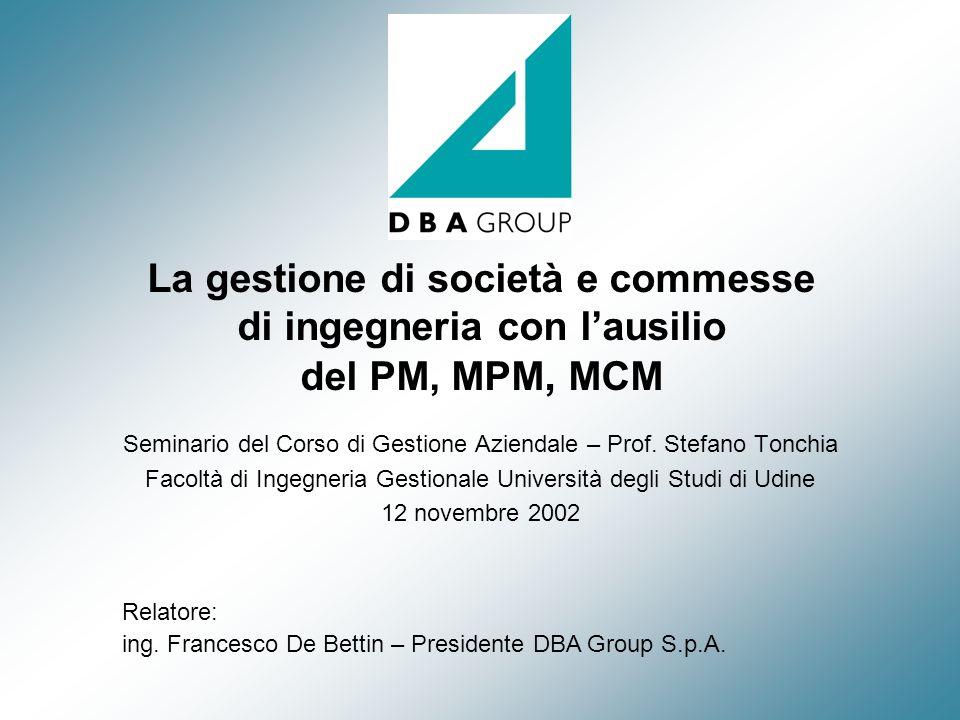 La gestione di società e commesse di ingegneria con lausilio del PM, MPM, MCM Seminario del Corso di Gestione Aziendale – Prof. Stefano Tonchia Facolt