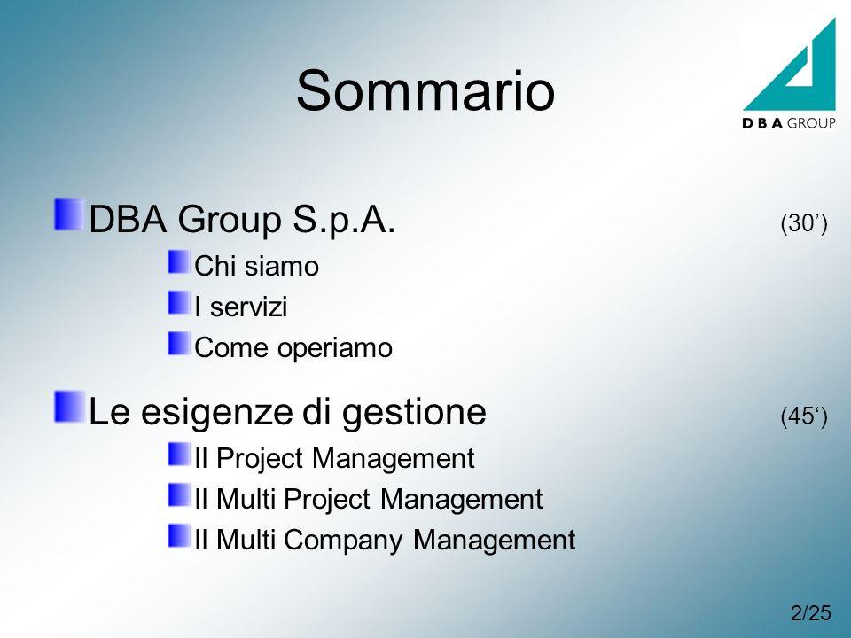Sommario DBA Group S.p.A. Chi siamo I servizi Come operiamo Le esigenze di gestione Il Project Management Il Multi Project Management Il Multi Company