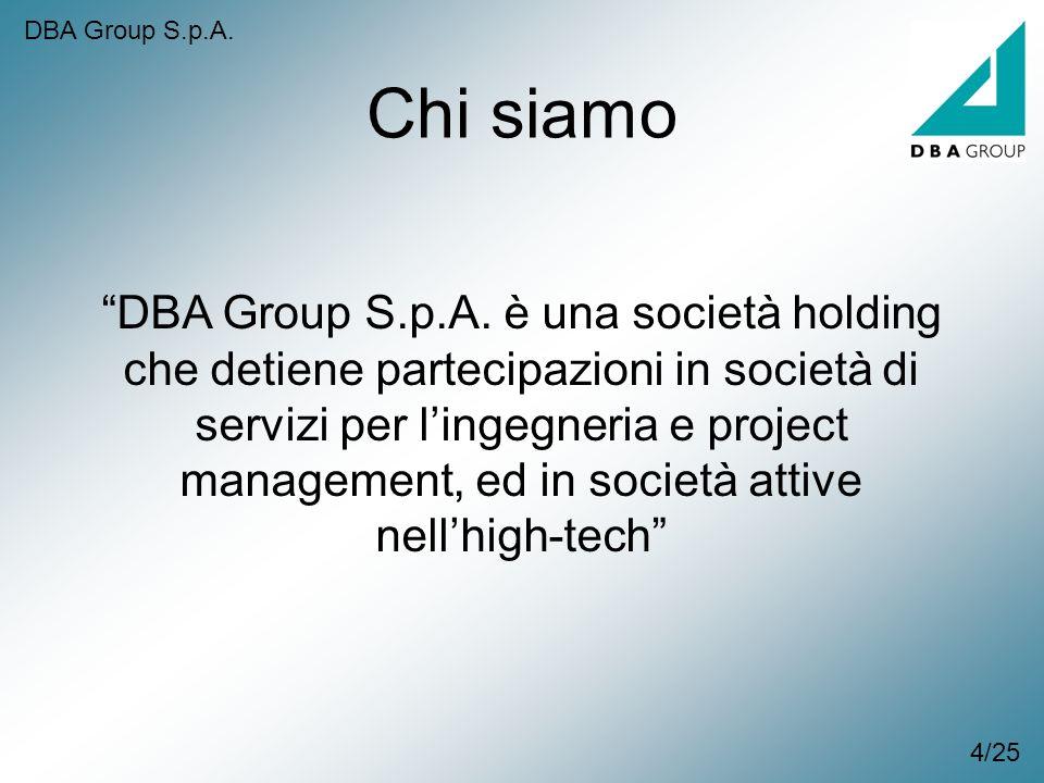 DBA Group S.p.A. è una società holding che detiene partecipazioni in società di servizi per lingegneria e project management, ed in società attive nel