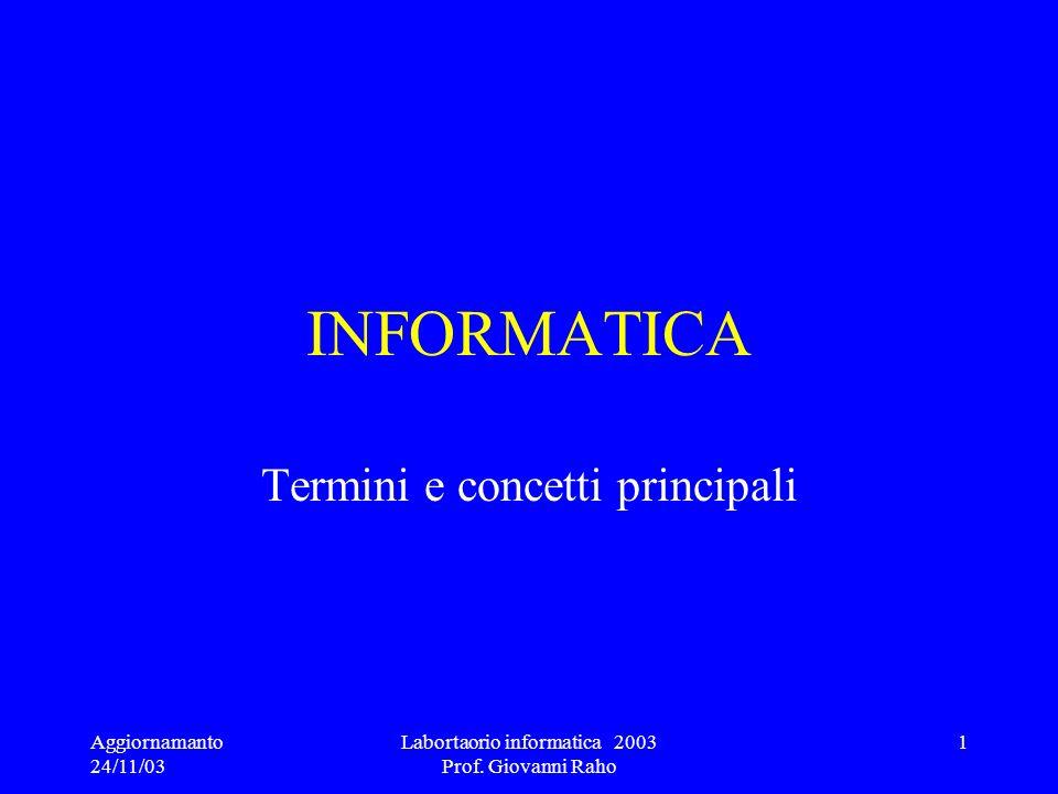 Aggiornamanto 24/11/03 Labortaorio informatica 2003 Prof. Giovanni Raho 1 INFORMATICA Termini e concetti principali