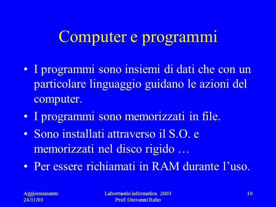 Aggiornamanto 24/11/03 Labortaorio informatica 2003 Prof. Giovanni Raho 10 Computer e programmi I programmi sono insiemi di dati che con un particolar