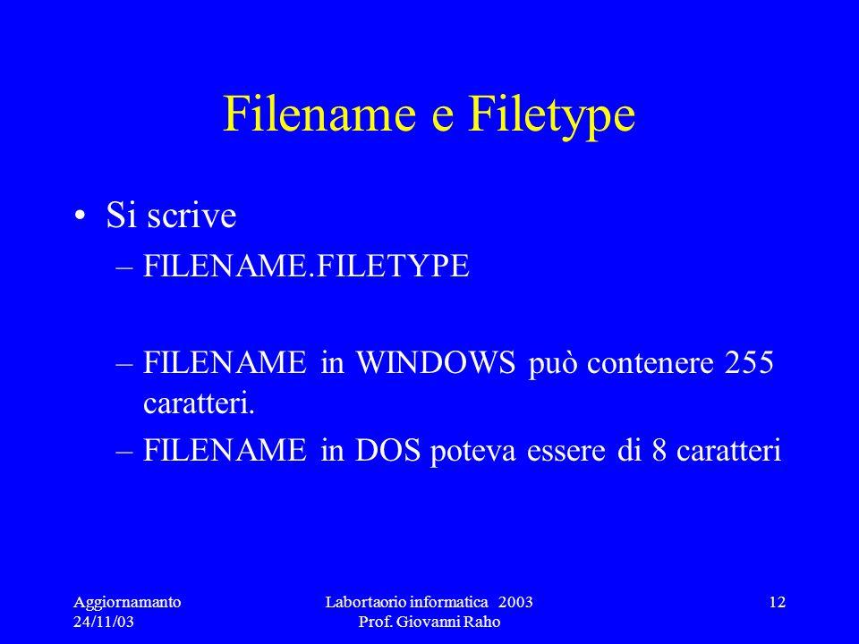 Aggiornamanto 24/11/03 Labortaorio informatica 2003 Prof. Giovanni Raho 12 Filename e Filetype Si scrive –FILENAME.FILETYPE –FILENAME in WINDOWS può c