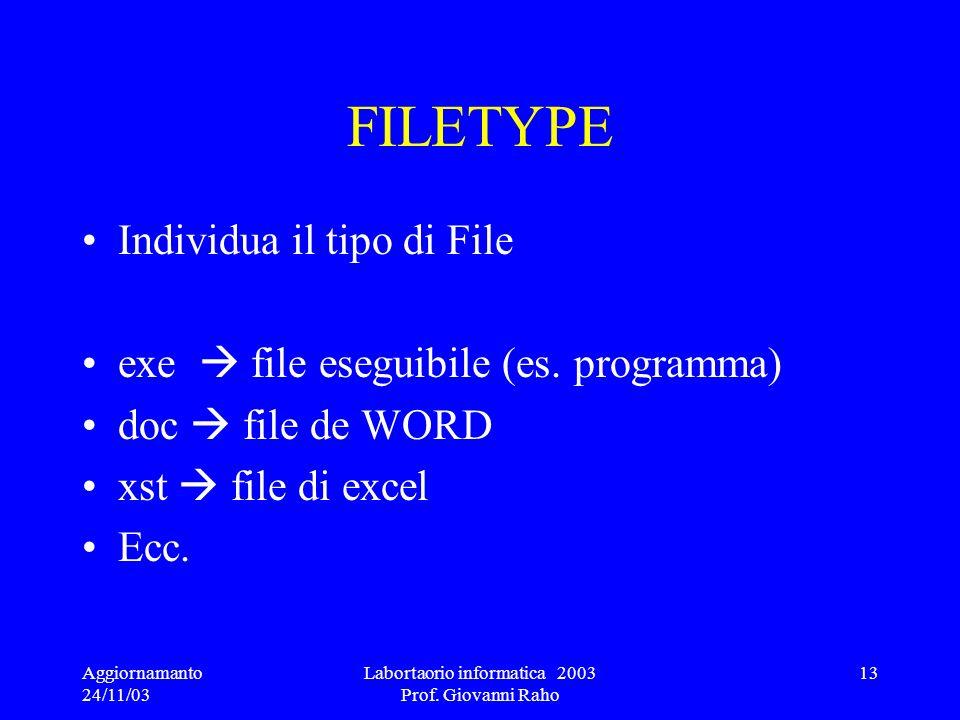 Aggiornamanto 24/11/03 Labortaorio informatica 2003 Prof. Giovanni Raho 13 FILETYPE Individua il tipo di File exe file eseguibile (es. programma) doc