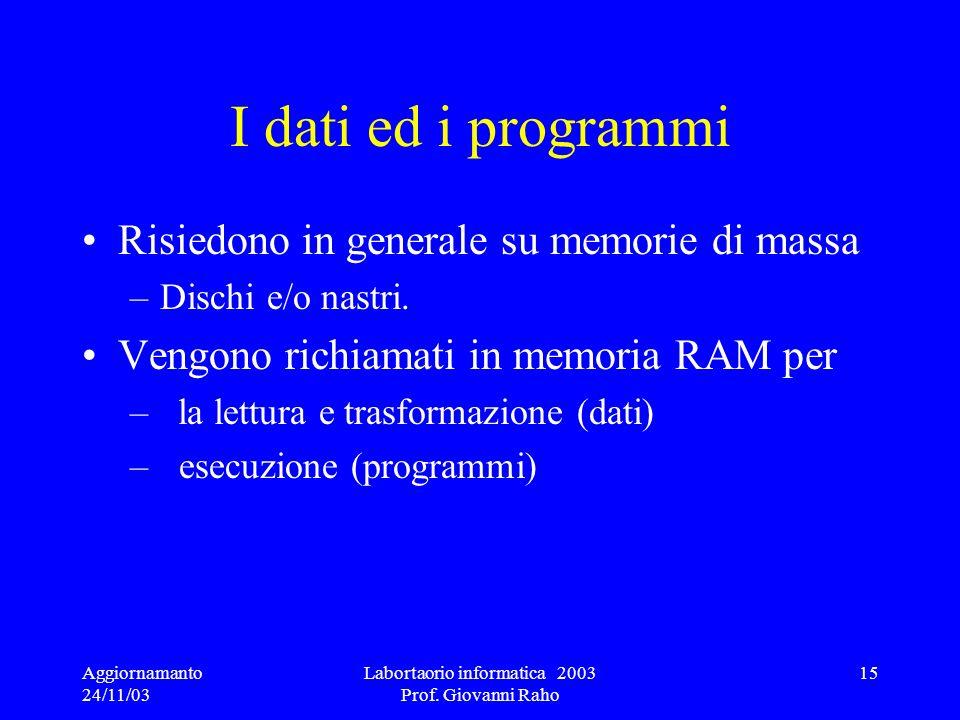 Aggiornamanto 24/11/03 Labortaorio informatica 2003 Prof. Giovanni Raho 15 I dati ed i programmi Risiedono in generale su memorie di massa –Dischi e/o