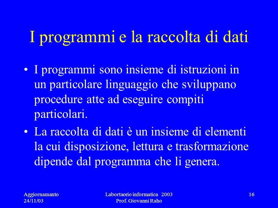 Aggiornamanto 24/11/03 Labortaorio informatica 2003 Prof. Giovanni Raho 16 I programmi e la raccolta di dati I programmi sono insieme di istruzioni in
