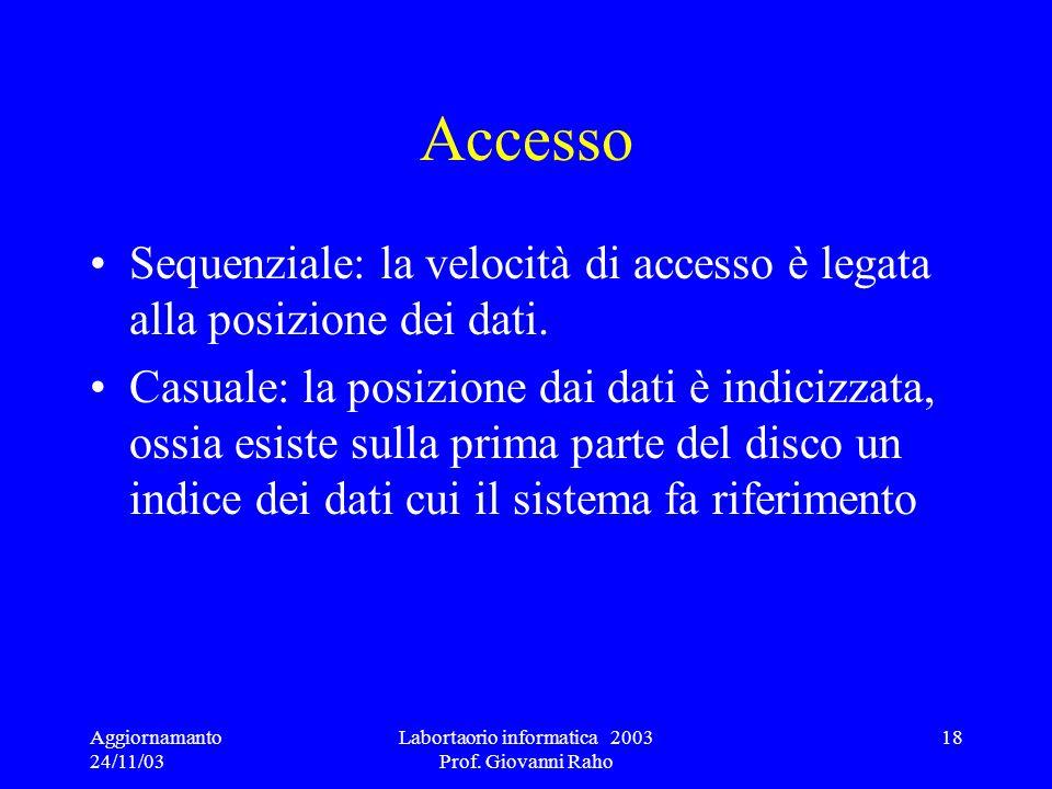 Aggiornamanto 24/11/03 Labortaorio informatica 2003 Prof. Giovanni Raho 18 Accesso Sequenziale: la velocità di accesso è legata alla posizione dei dat