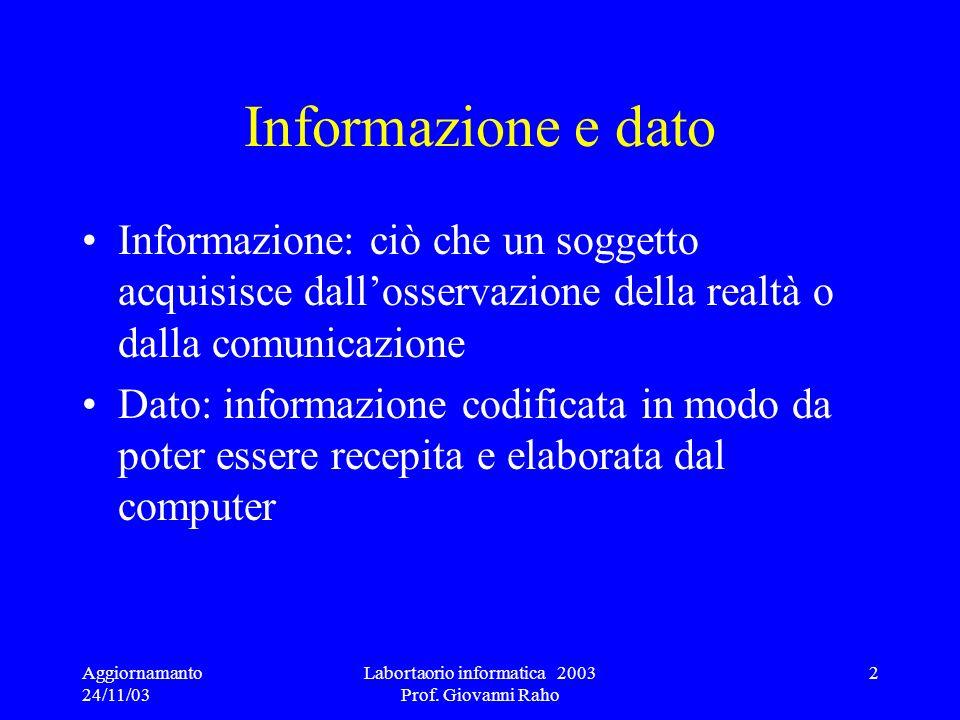 Aggiornamanto 24/11/03 Labortaorio informatica 2003 Prof. Giovanni Raho 2 Informazione e dato Informazione: ciò che un soggetto acquisisce dallosserva