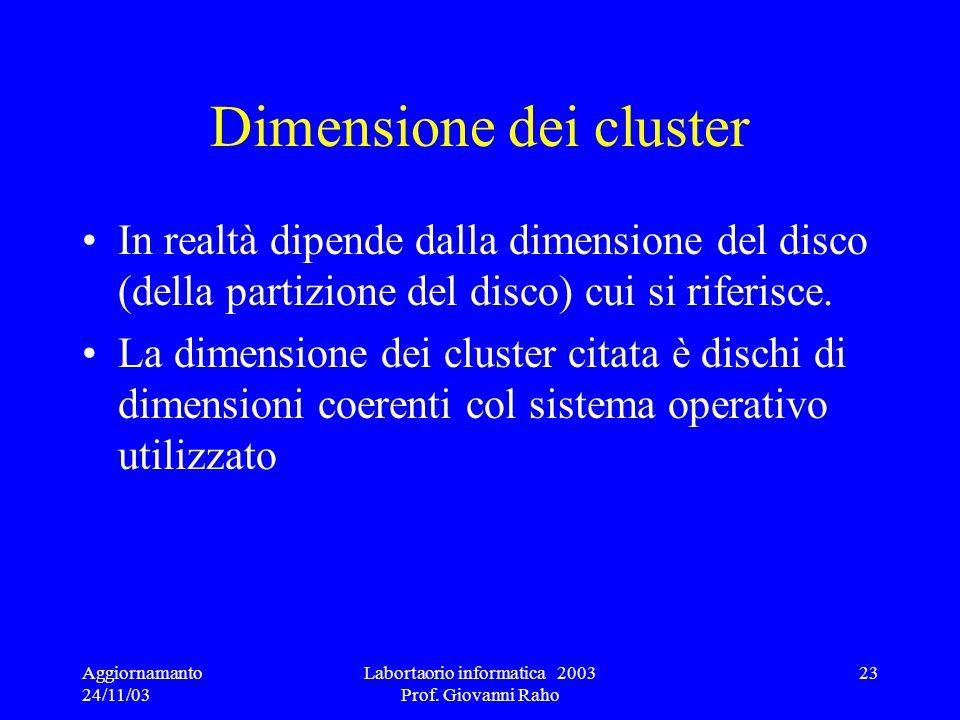 Aggiornamanto 24/11/03 Labortaorio informatica 2003 Prof. Giovanni Raho 23 Dimensione dei cluster In realtà dipende dalla dimensione del disco (della