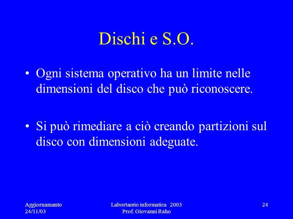 Aggiornamanto 24/11/03 Labortaorio informatica 2003 Prof. Giovanni Raho 24 Dischi e S.O. Ogni sistema operativo ha un limite nelle dimensioni del disc
