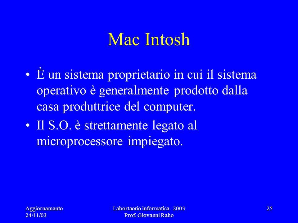 Aggiornamanto 24/11/03 Labortaorio informatica 2003 Prof. Giovanni Raho 25 Mac Intosh È un sistema proprietario in cui il sistema operativo è generalm