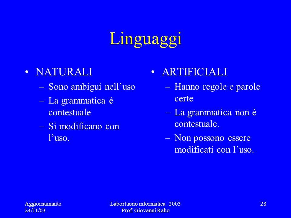 Aggiornamanto 24/11/03 Labortaorio informatica 2003 Prof. Giovanni Raho 28 Linguaggi NATURALI –Sono ambigui nelluso –La grammatica è contestuale –Si m