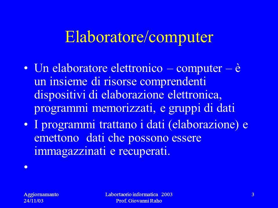 Aggiornamanto 24/11/03 Labortaorio informatica 2003 Prof. Giovanni Raho 3 Elaboratore/computer Un elaboratore elettronico – computer – è un insieme di