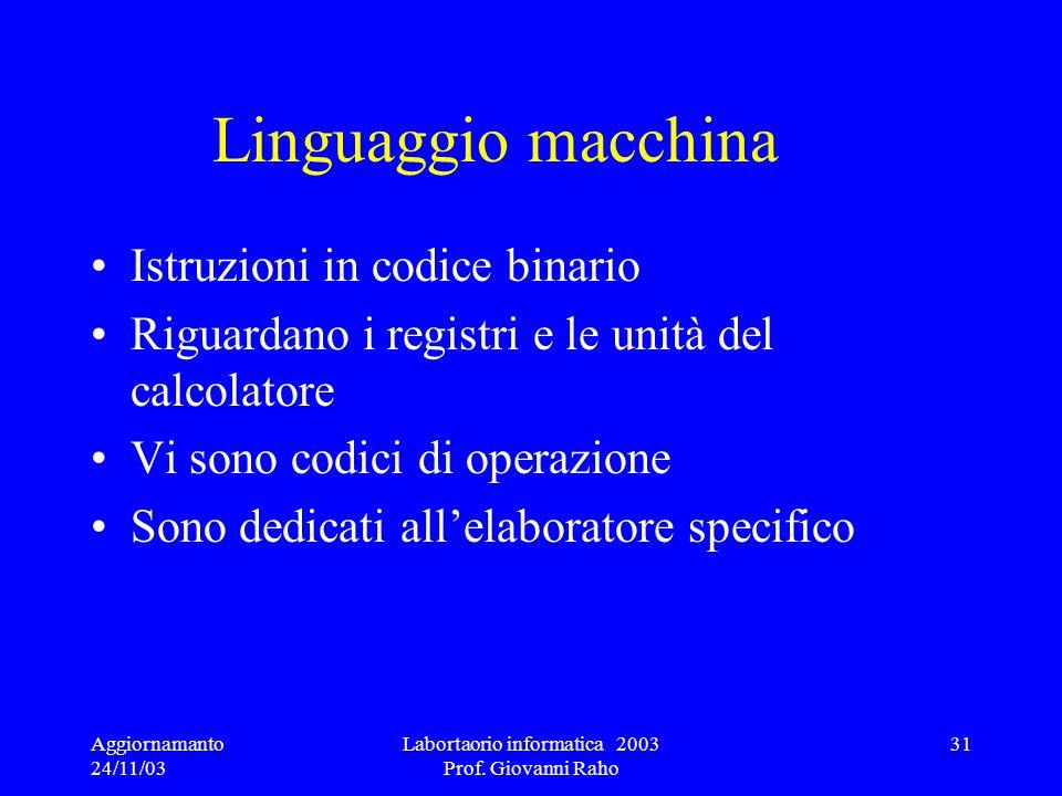 Aggiornamanto 24/11/03 Labortaorio informatica 2003 Prof. Giovanni Raho 31 Linguaggio macchina Istruzioni in codice binario Riguardano i registri e le