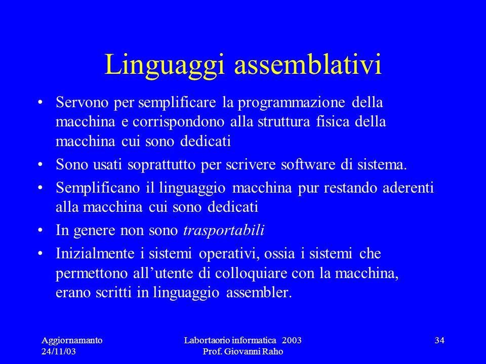 Aggiornamanto 24/11/03 Labortaorio informatica 2003 Prof. Giovanni Raho 34 Linguaggi assemblativi Servono per semplificare la programmazione della mac
