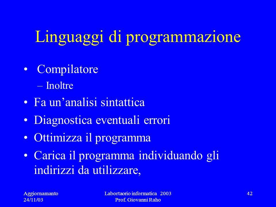 Aggiornamanto 24/11/03 Labortaorio informatica 2003 Prof. Giovanni Raho 42 Linguaggi di programmazione Compilatore –Inoltre Fa unanalisi sintattica Di