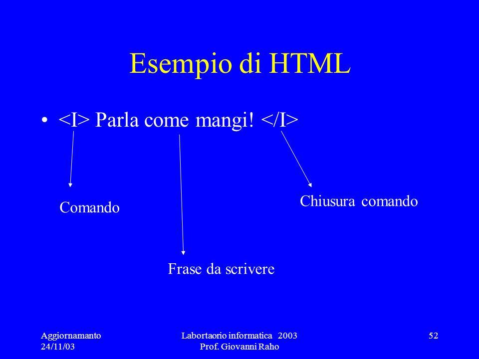 Aggiornamanto 24/11/03 Labortaorio informatica 2003 Prof. Giovanni Raho 52 Esempio di HTML Parla come mangi! Comando Frase da scrivere Chiusura comand