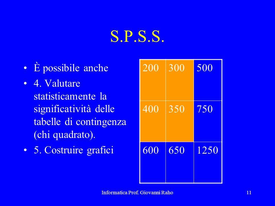 Informatica Prof. Giovanni Raho11 S.P.S.S. È possibile anche 4. Valutare statisticamente la significatività delle tabelle di contingenza (chi quadrato