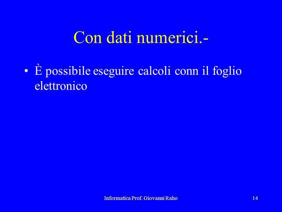 Informatica Prof. Giovanni Raho14 Con dati numerici.- È possibile eseguire calcoli conn il foglio elettronico