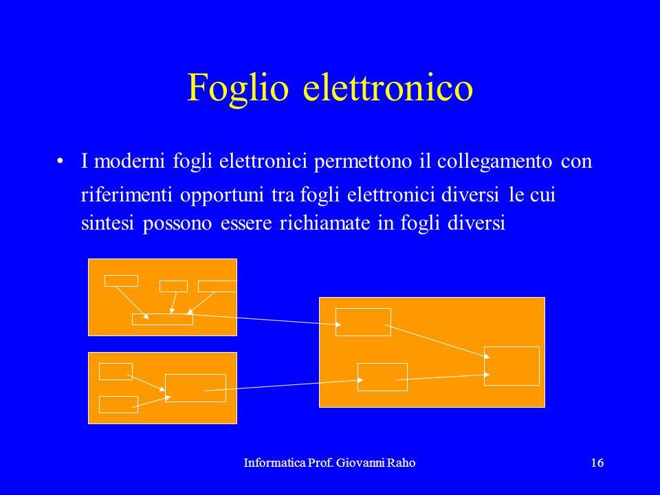 Informatica Prof. Giovanni Raho16 Foglio elettronico I moderni fogli elettronici permettono il collegamento con riferimenti opportuni tra fogli elettr