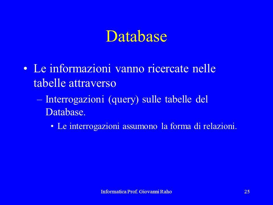 Informatica Prof. Giovanni Raho25 Database Le informazioni vanno ricercate nelle tabelle attraverso –Interrogazioni (query) sulle tabelle del Database