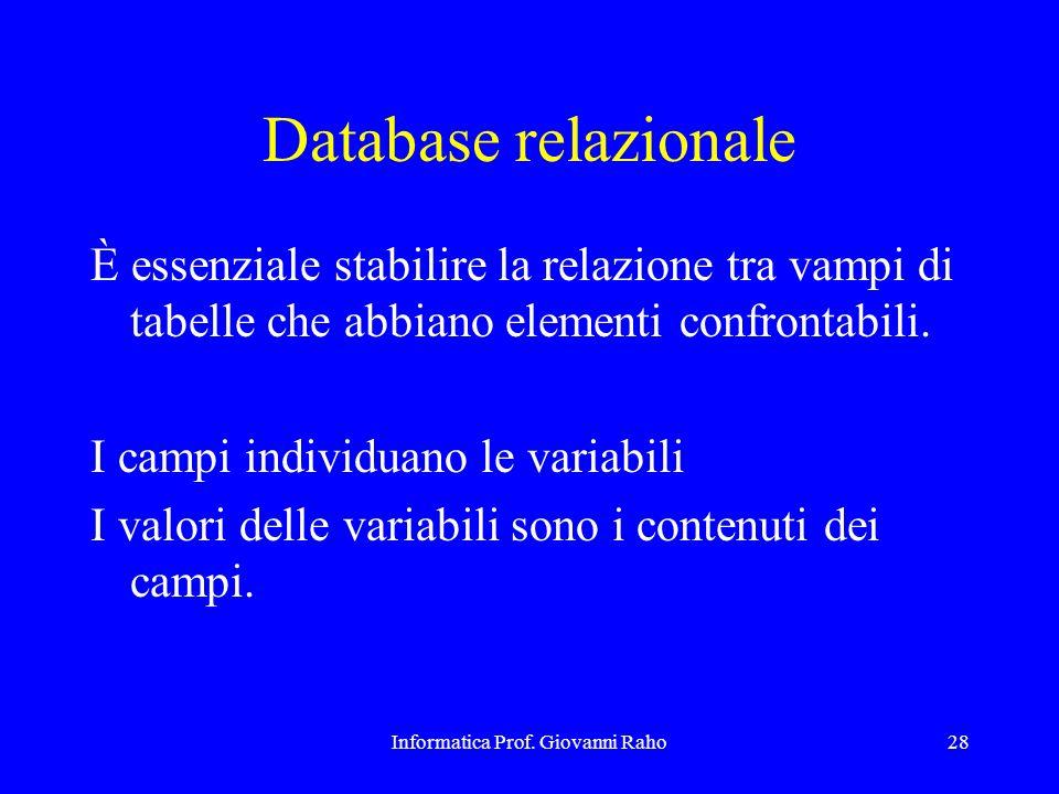 Informatica Prof. Giovanni Raho28 Database relazionale È essenziale stabilire la relazione tra vampi di tabelle che abbiano elementi confrontabili. I