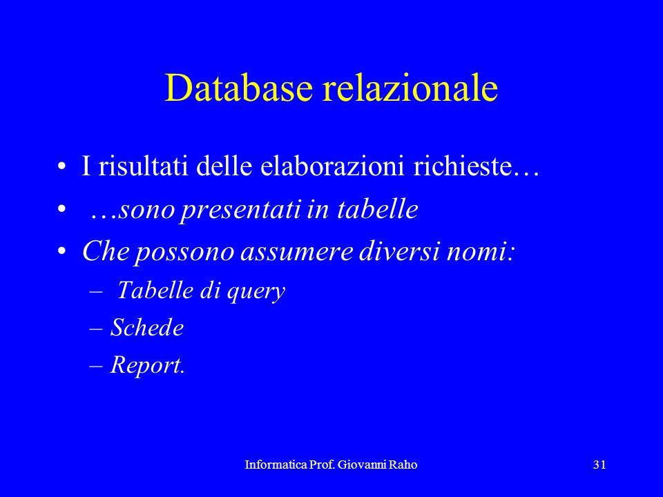 Informatica Prof. Giovanni Raho31 Database relazionale I risultati delle elaborazioni richieste… …sono presentati in tabelle Che possono assumere dive