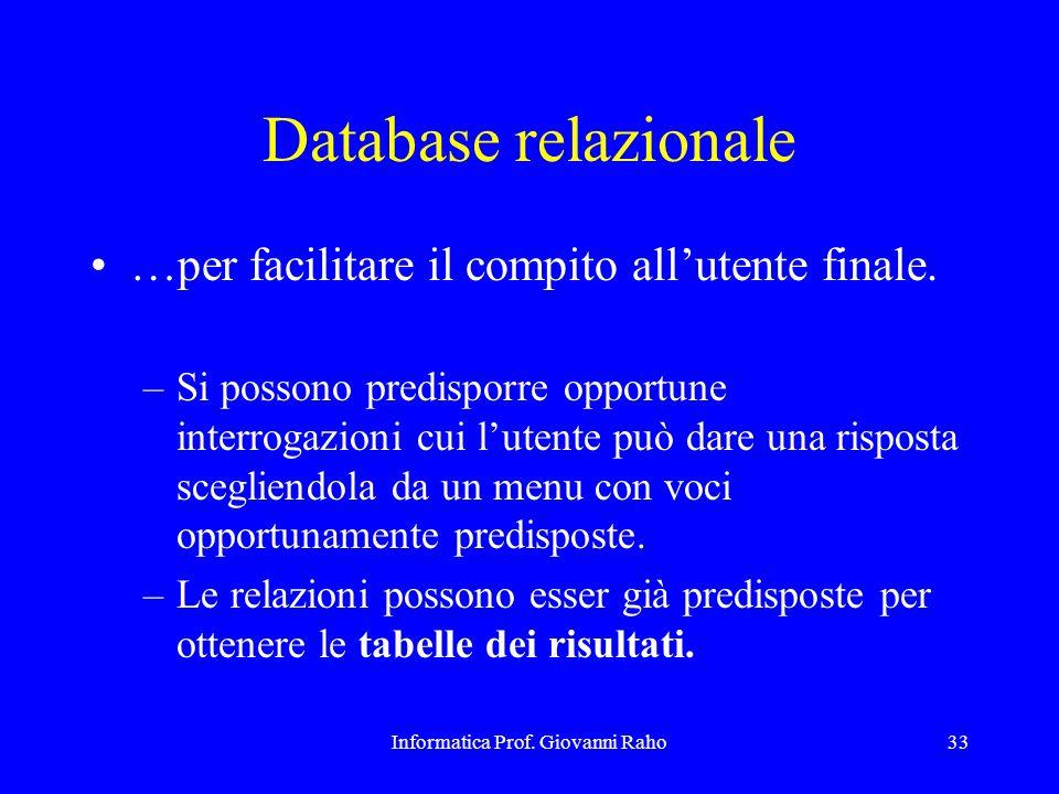 Informatica Prof. Giovanni Raho33 Database relazionale …per facilitare il compito allutente finale. –Si possono predisporre opportune interrogazioni c