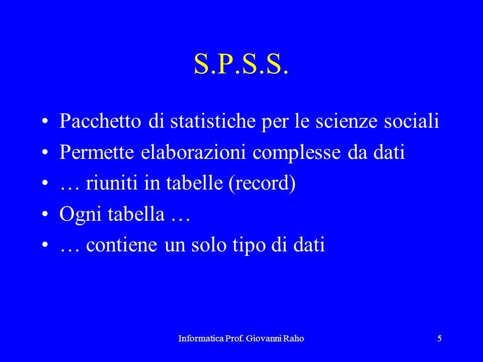 Informatica Prof. Giovanni Raho5 S.P.S.S. Pacchetto di statistiche per le scienze sociali Permette elaborazioni complesse da dati … riuniti in tabelle