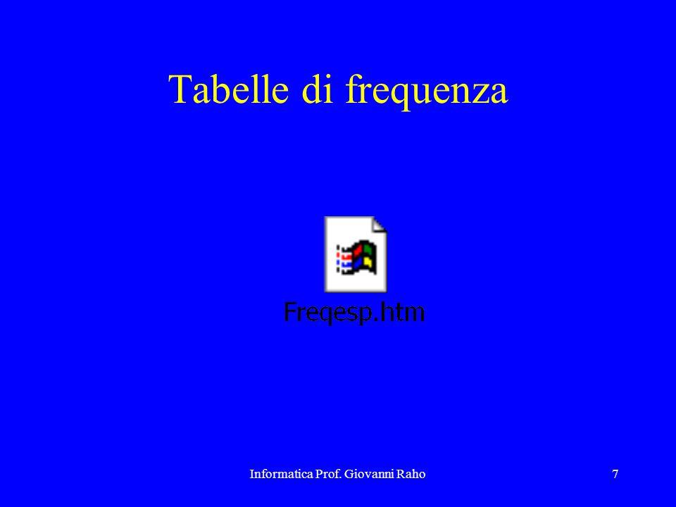 Informatica Prof. Giovanni Raho7 Tabelle di frequenza