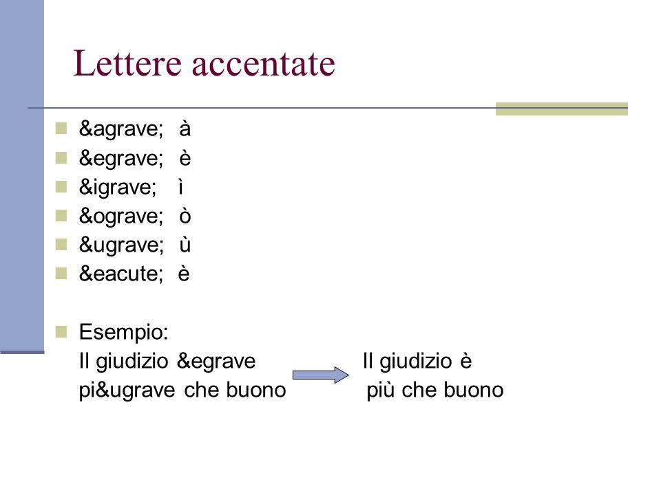 Lettere accentate à à è è ì ì ò ò ù ù é è Esempio: Il giudizio &egrave Il giudizio è pi&ugrave che buono più che buono