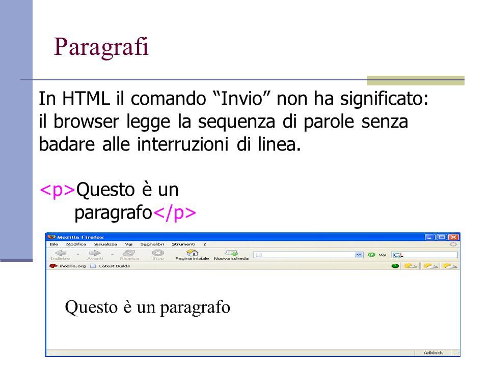 Paragrafi In HTML il comando Invio non ha significato: il browser legge la sequenza di parole senza badare alle interruzioni di linea.