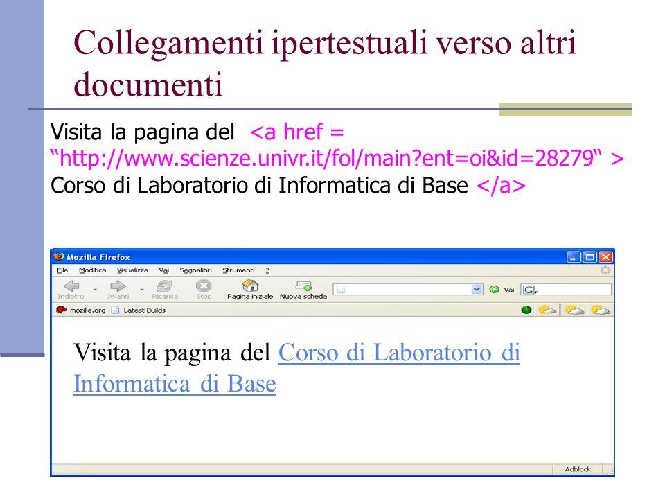 Collegamenti ipertestuali verso altri documenti Visita la pagina del Corso di Laboratorio di Informatica di Base Corso di Laboratorio di Informatica di Base