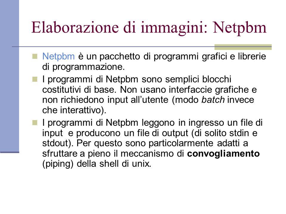 Elaborazione di immagini: Netpbm Netpbm è un pacchetto di programmi grafici e librerie di programmazione.