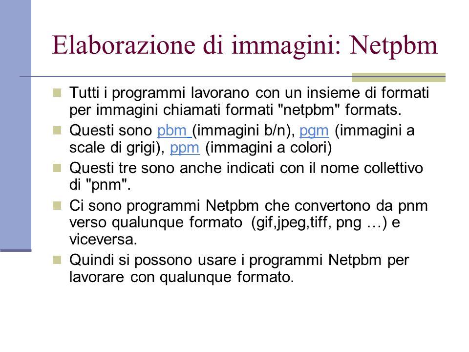 Elaborazione di immagini: Netpbm Tutti i programmi lavorano con un insieme di formati per immagini chiamati formati netpbm formats.