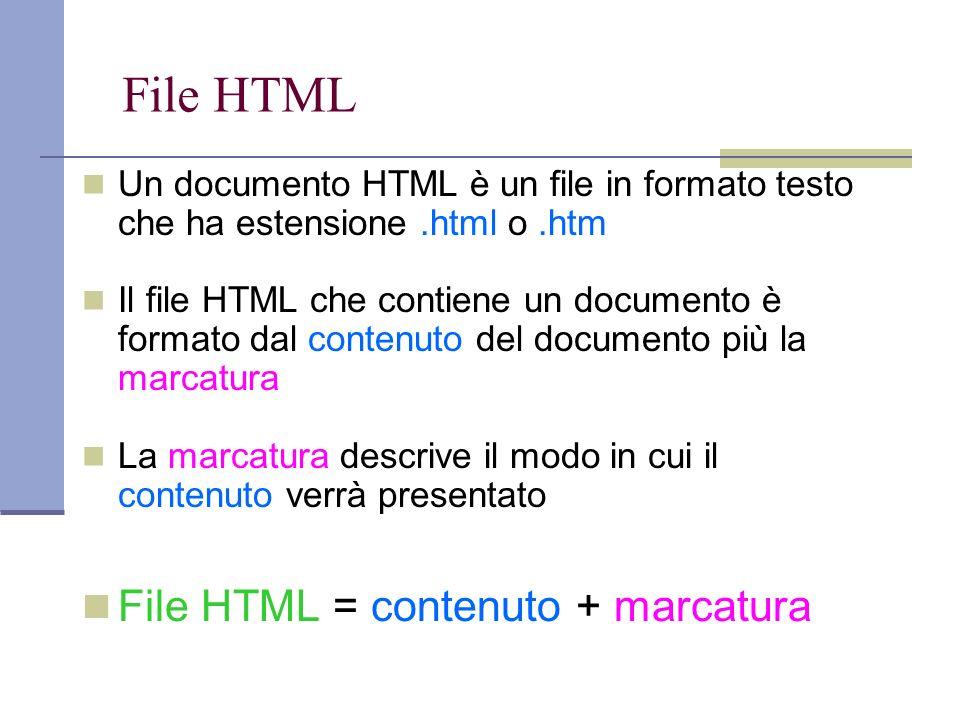 File HTML Un documento HTML è un file in formato testo che ha estensione.html o.htm Il file HTML che contiene un documento è formato dal contenuto del documento più la marcatura La marcatura descrive il modo in cui il contenuto verrà presentato File HTML = contenuto + marcatura
