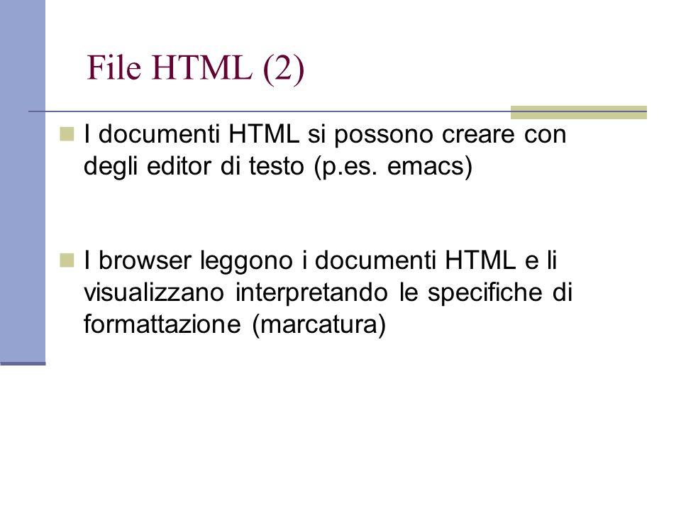File HTML (2) I documenti HTML si possono creare con degli editor di testo (p.es.