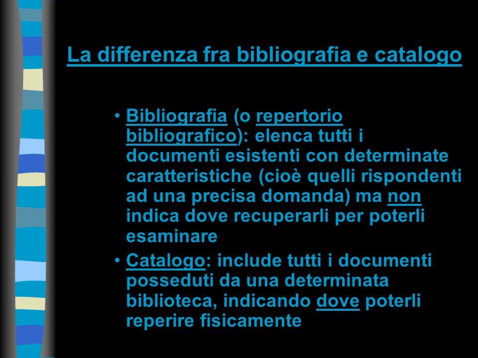 Schema delle fasi di una ricerca bibliografica Che cosa cerchiamo in una fase introduttiva, magari per la stesura di una prima bibliografia parziale.