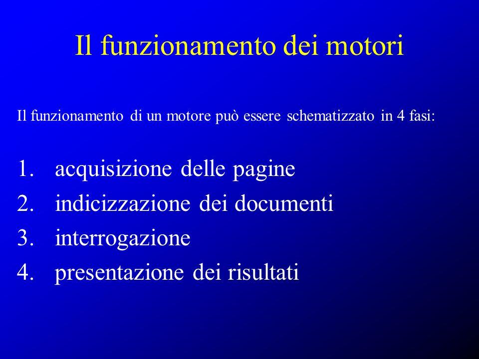 Il funzionamento dei motori Il funzionamento di un motore può essere schematizzato in 4 fasi: 1. acquisizione delle pagine 2. indicizzazione dei docum
