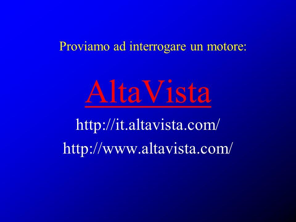 Proviamo ad interrogare un motore: AltaVista http://it.altavista.com/ http://www.altavista.com/