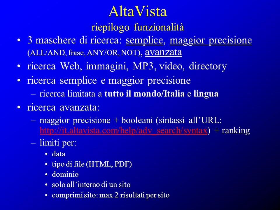 AltaVista riepilogo funzionalità 3 maschere di ricerca: semplice, maggior precisione (ALL/AND, frase, ANY/OR, NOT), avanzata ricerca Web, immagini, MP
